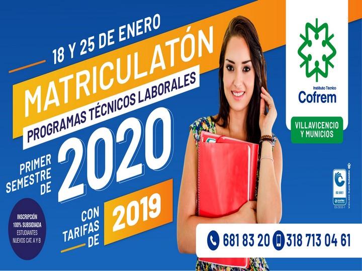 Matricúlese en el Instituto Técnico Cofrem con tarifas del año 2019